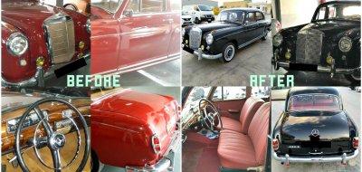 أعمال ترميم و إصلاح سيارة مرسيدس بنز 220 إس موديل عام 1958
